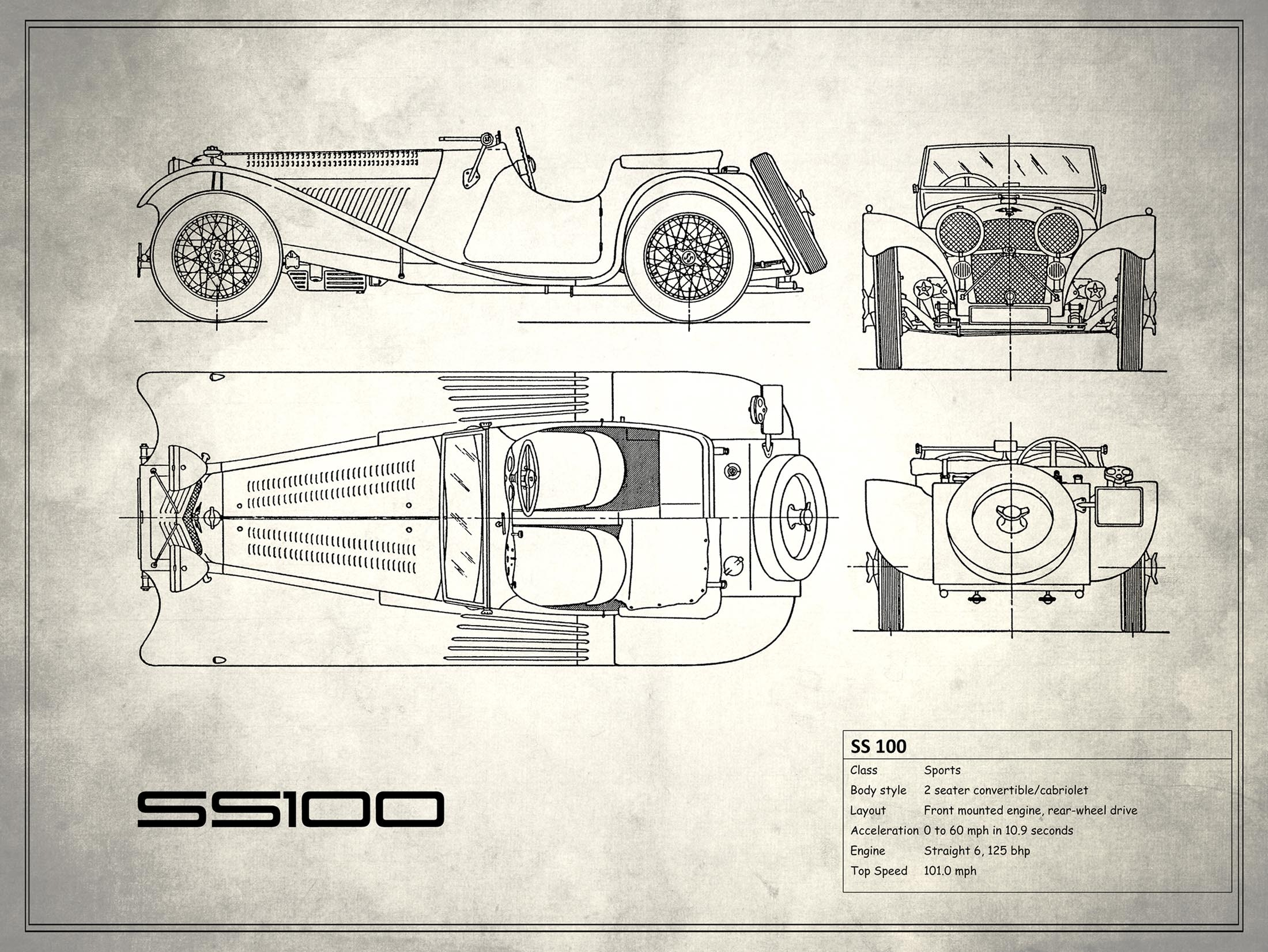 Jaguar SS 100 - White