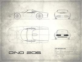 Blueprint Ferrari Dino - White