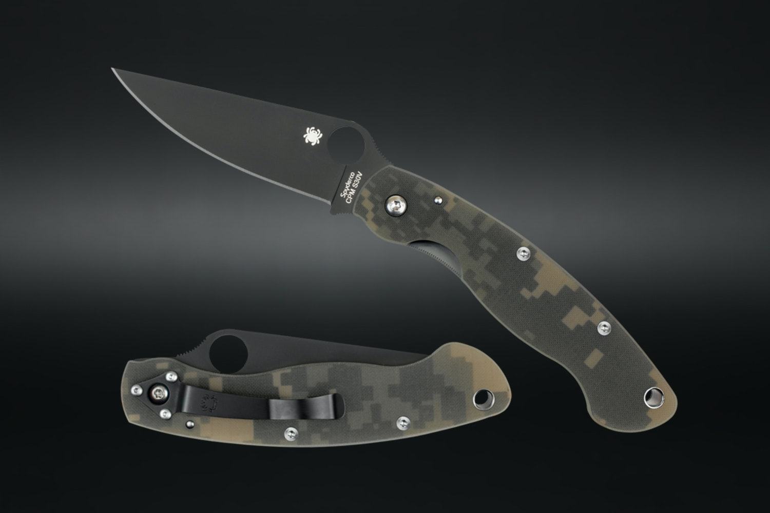 Spyderco Military with G-10 Digi Camo Handle and Black Blade