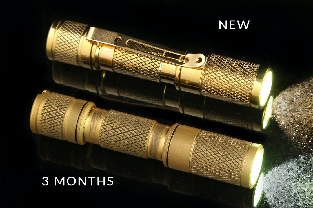 Drop Brass AAA Pocket Flashlight