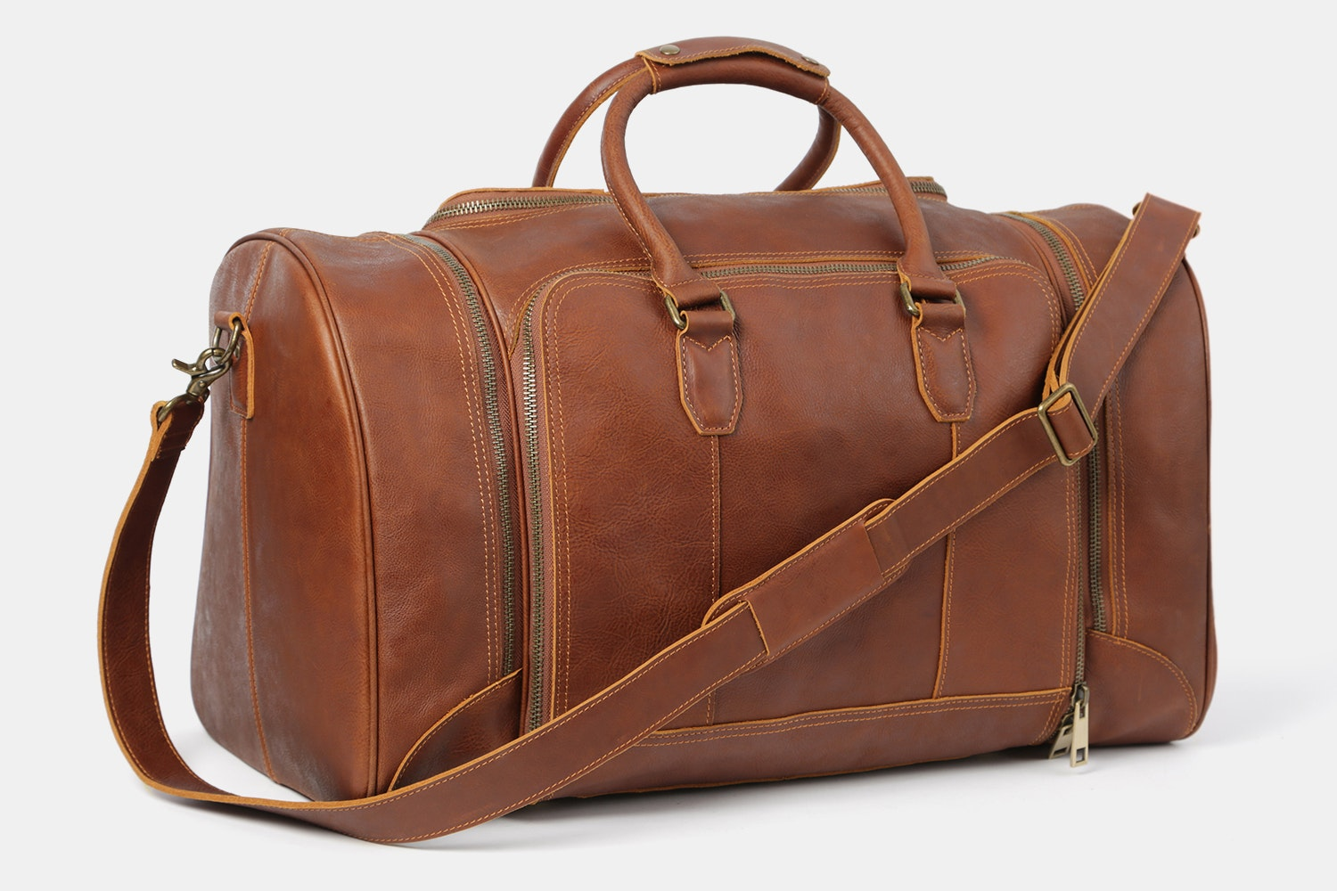 Brown Bag with Brass-colored Hardware