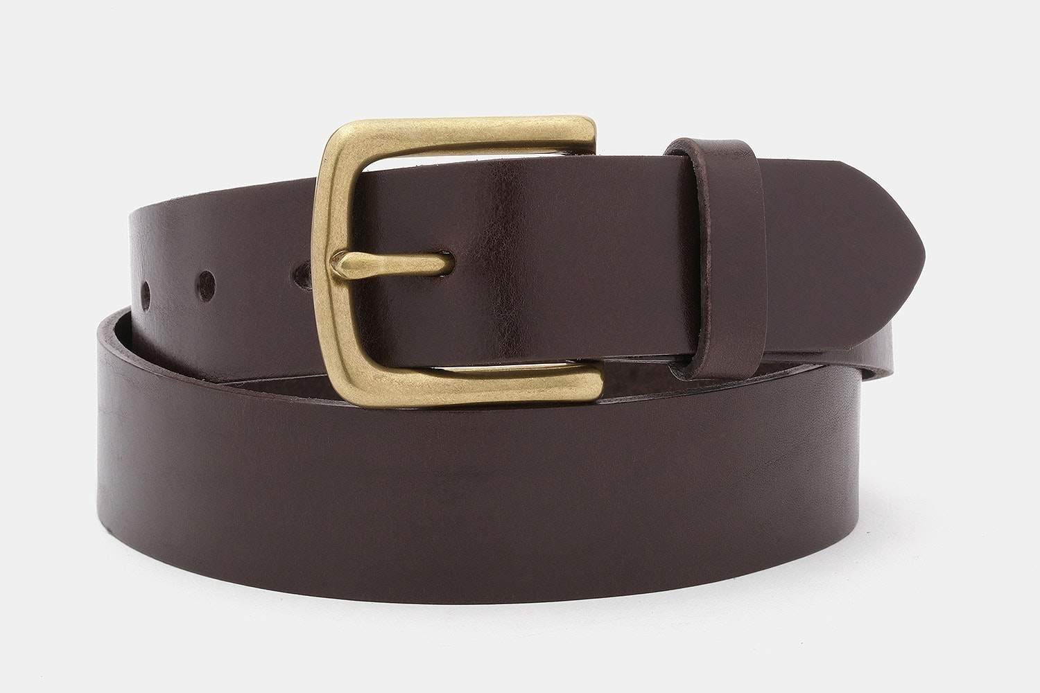 Brown belt with a solid brass buckle