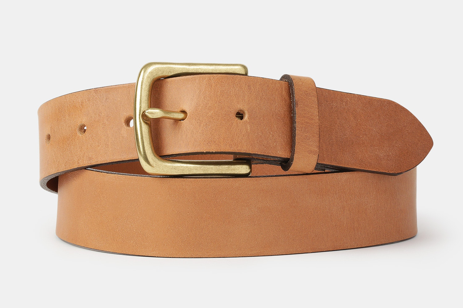 Tan belt with a solid brass buckle