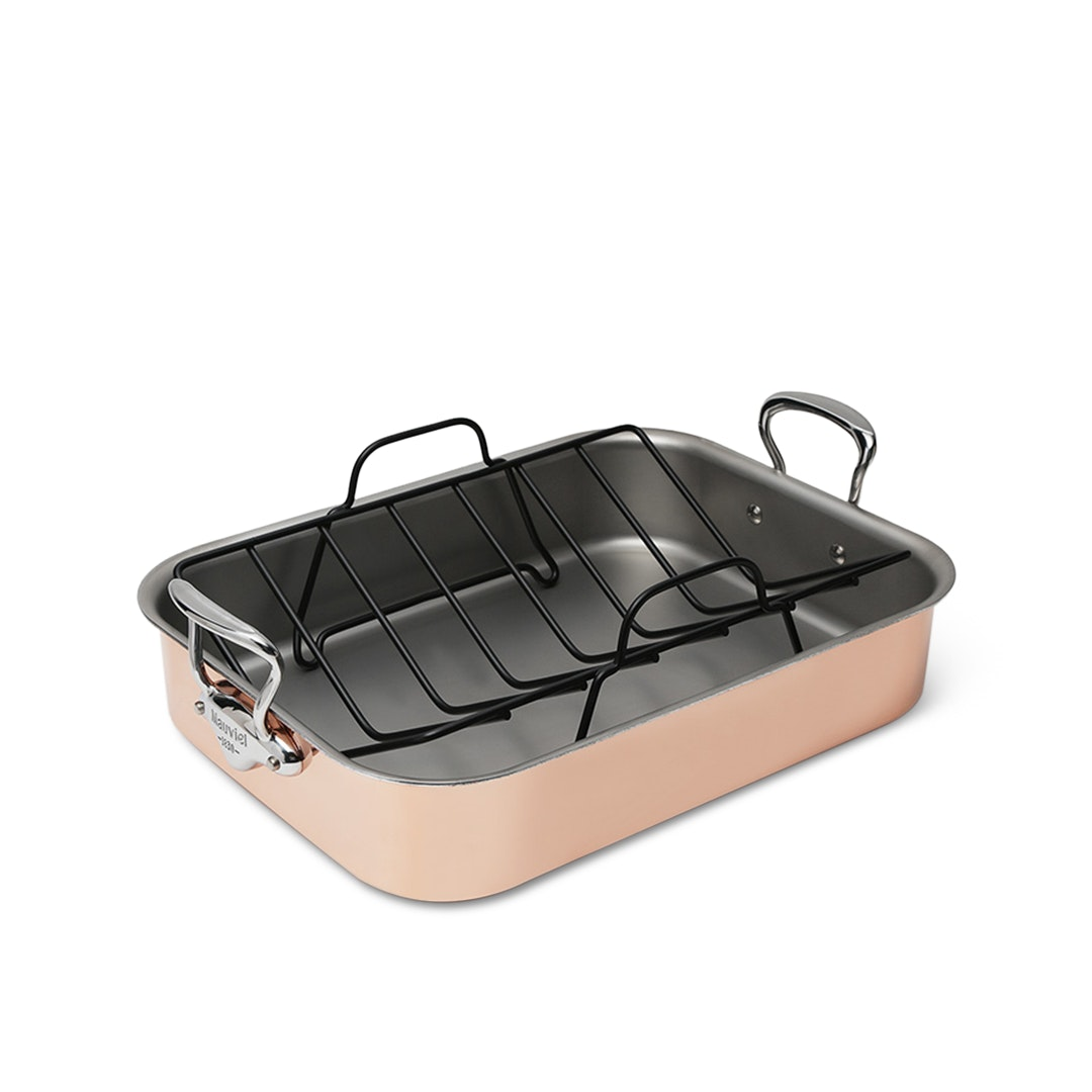 Mauviel 16-by-12-inch Copper Roasting Pan w/ Rack
