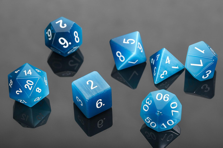 MDG Cat's Eye Aquamarine Polyhedral Dice Set
