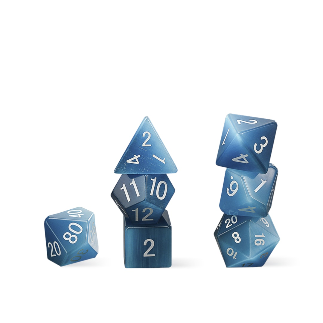 MDG Cat's Eye Aquamarine Polyhedral Dice Set