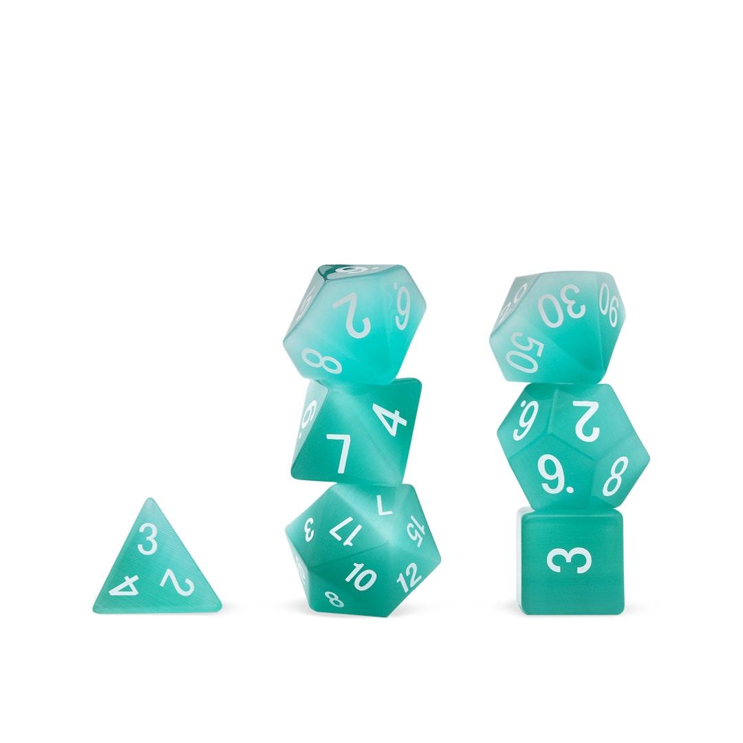 MDG Cat's Eye Mint Green Gemstone Polyhedral Set