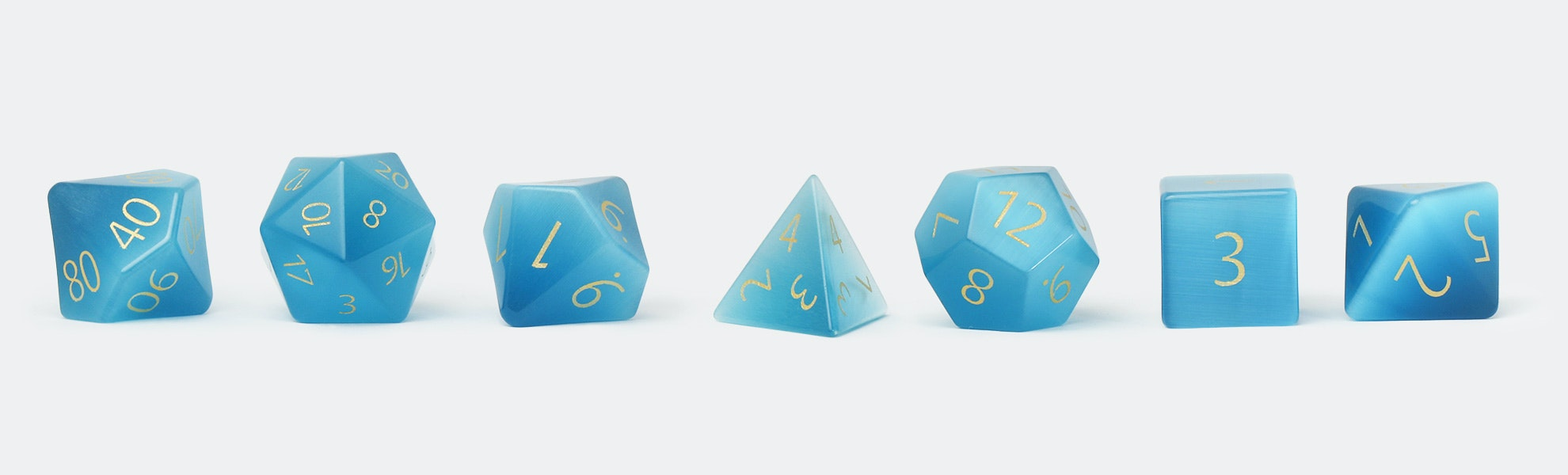 MDG Engraved Aquamarine 16mm Polyhedral Dice Set