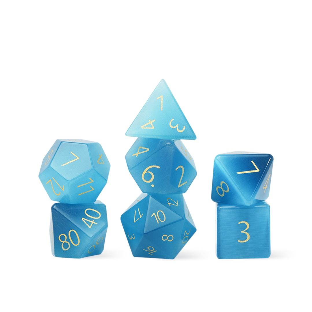 MDG Engraved Aquamarine 16mm Polyhedral Dice Set