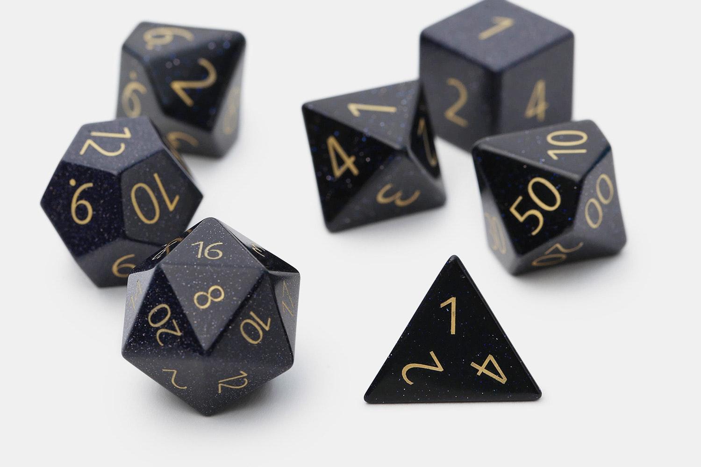 MDG Engraved Blue Sandstone Polyhedral Dice Set