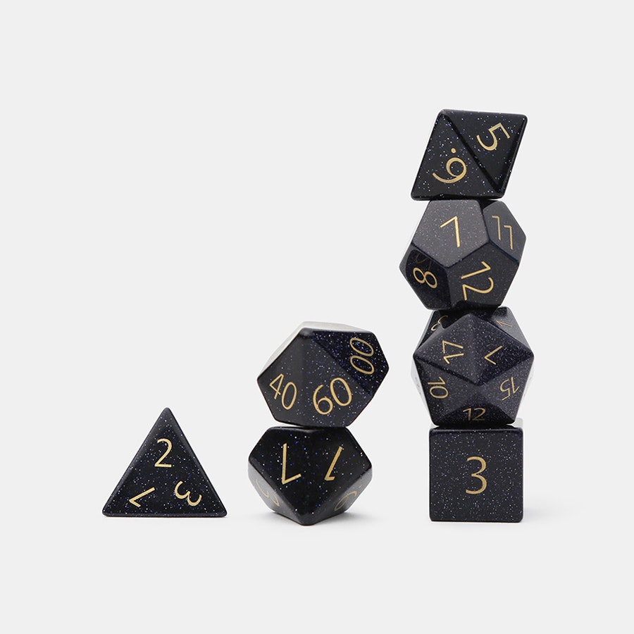 MDG Engraved Blue Sandstone Polyhedral Dice Set