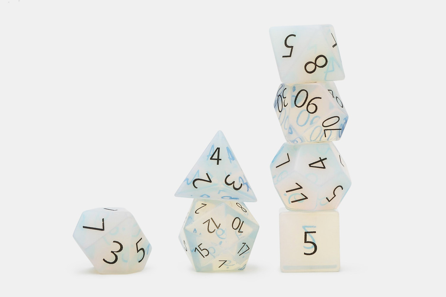 MDG Engraved Opalite Polyhedral Dice Set