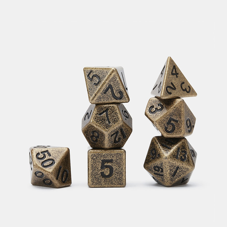 MDG Gun Metal Polyhedral Dice Set