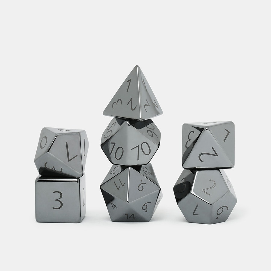MDG Hematite 16mm Polyhedral Dice Set