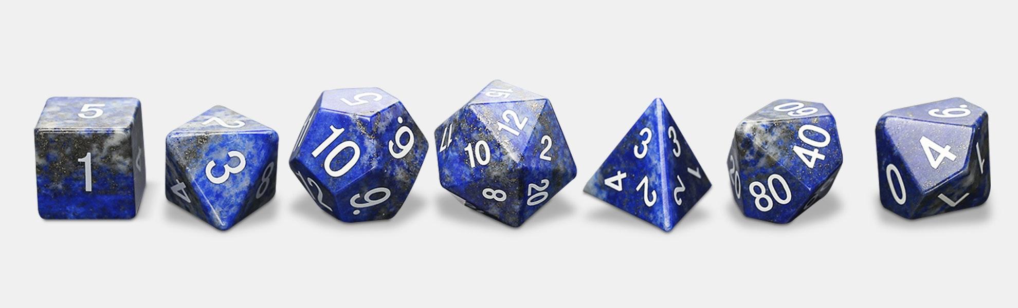 MDG Lapis Lazuli Gemstone Polyhedral Dice Set