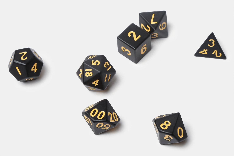 MDG Matte Black Polyhedral Dice Set