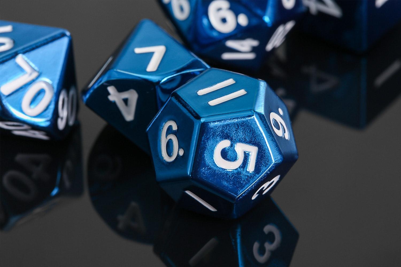 MDG Metallic Blue 16mm Polyhedral Dice Set