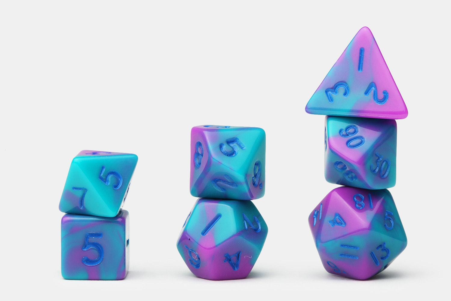 Marbled Purple/Green w/ Blue Numbers
