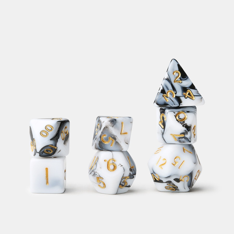 MDG Mini Acrylic Marbled Dice Sets (4-Pack)