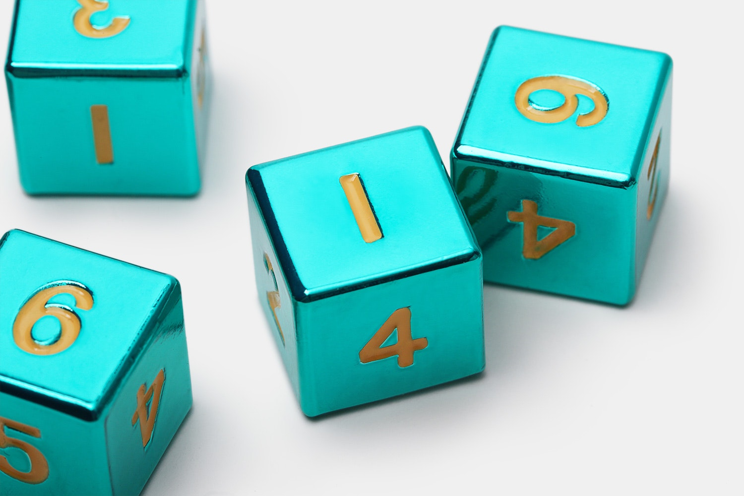 MDG Turquoise Metal D6 Dice Set- Massdrop Exclusive