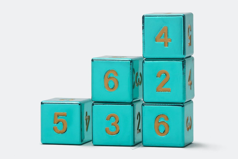 MDG Turquoise Metal D6 Dice Set- Massdrop Exclusive