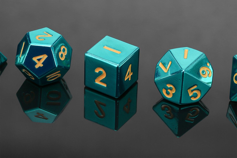 MDG Turquoise Metal Dice Set - Massdrop Exclusive