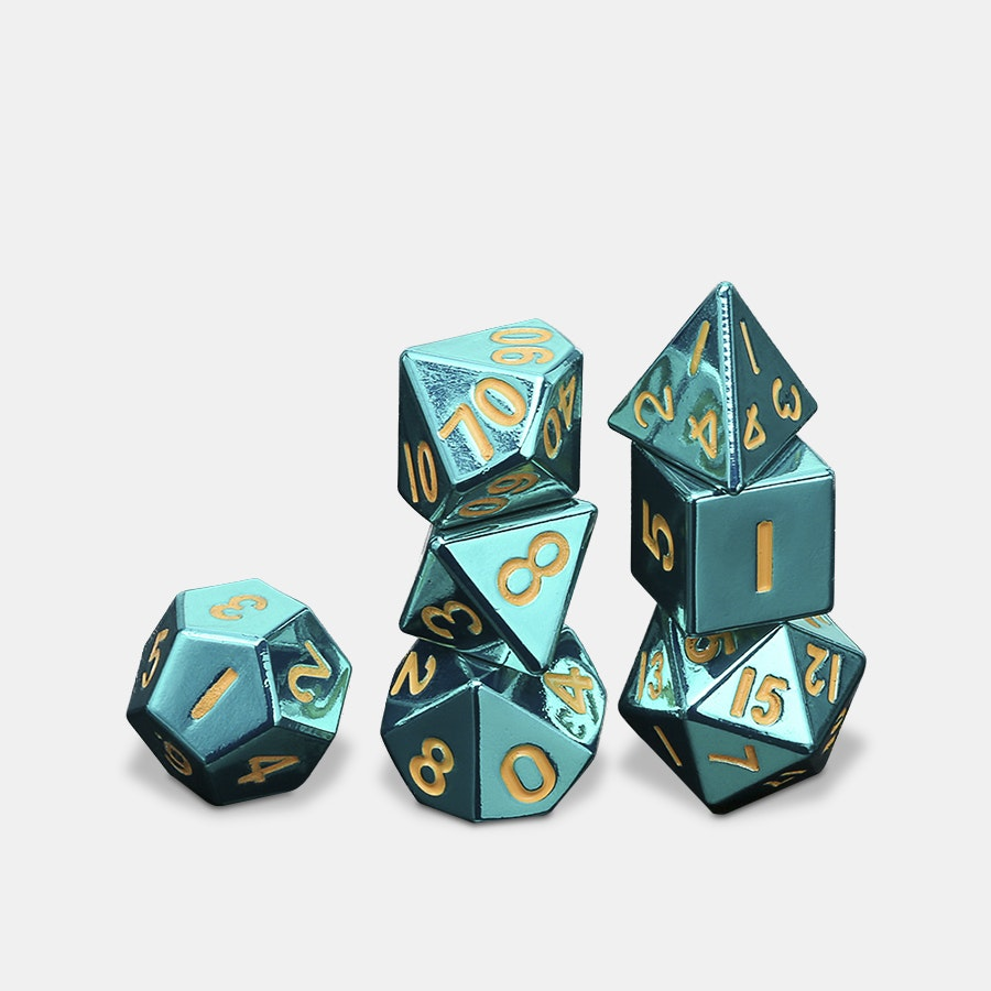MDG Turquoise Metal Dice Set - Massdrop Exclusive