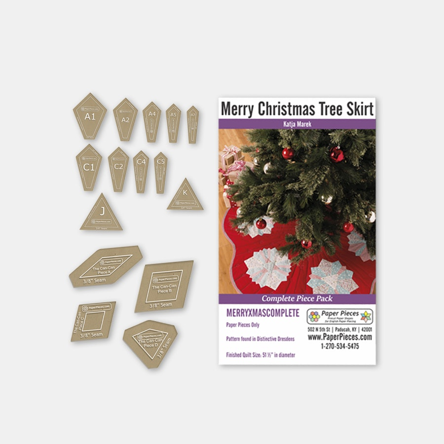 Merry Christmas Tree Skirt Paper-Piece Bundle