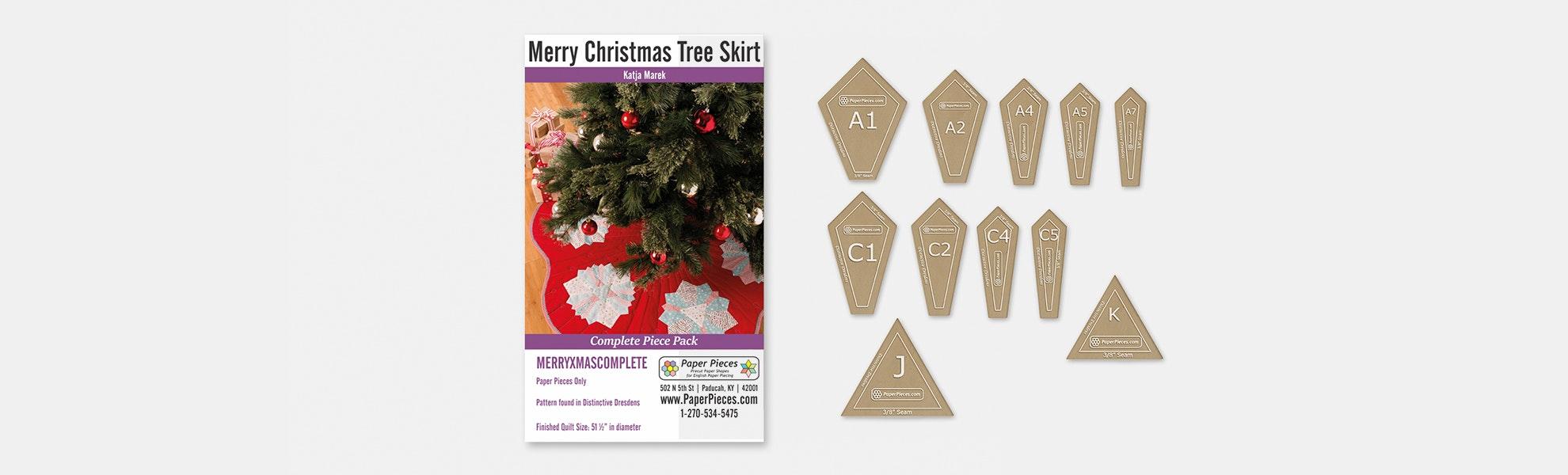 Merry Christmas Tree Skirt Paper-Piece Bundle