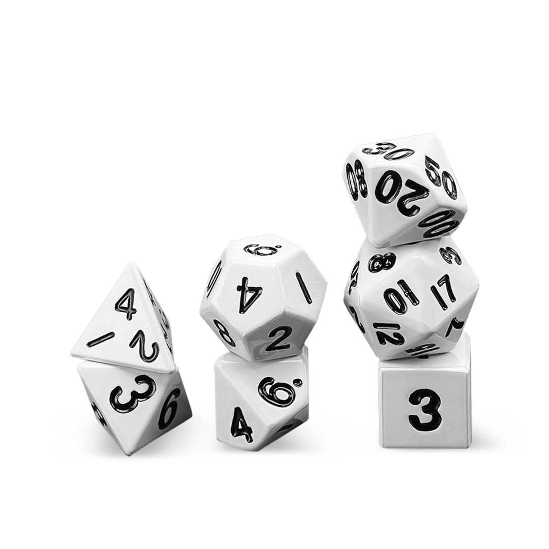 Massdrop Exclusive: Metallic 16mm White Metal Dice