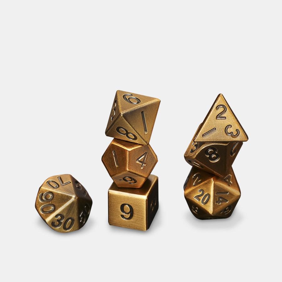 Metallic Antique Gold Polyhedral Dice Set