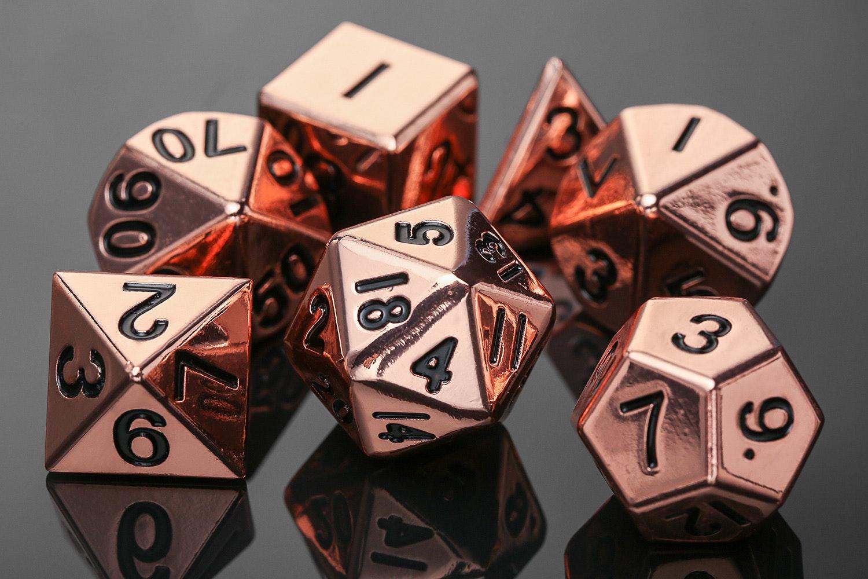 Metallic 16mm Shiny Copper Polyhedral Dice Set