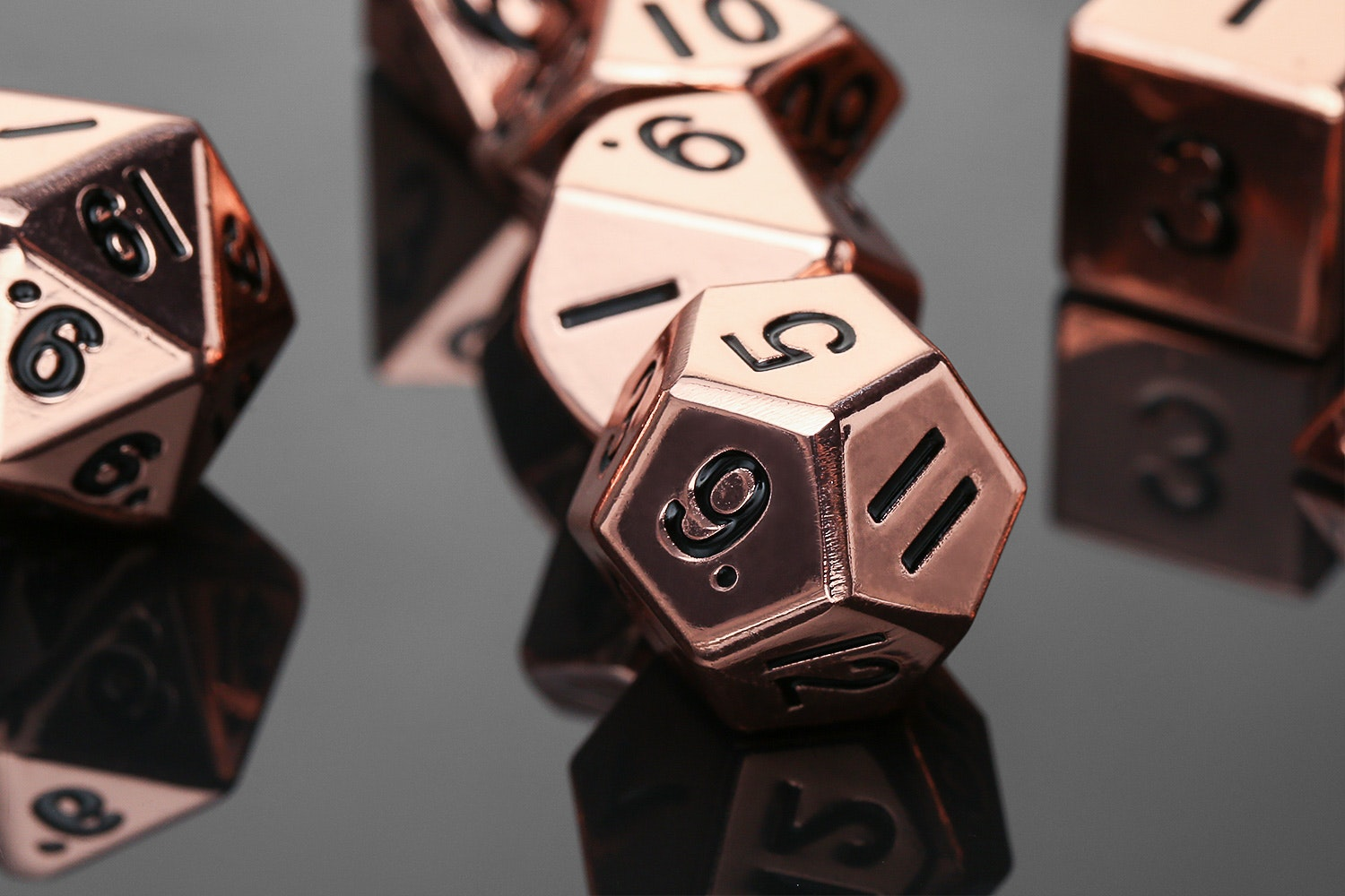 Metallic 16mm Shiny Copper Polyhedral Dice Set