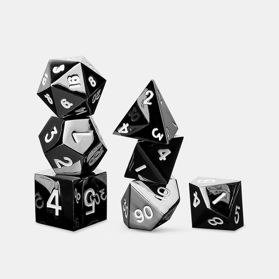 Metallic Sterling Grey 16mm Polyhedral Dice Set