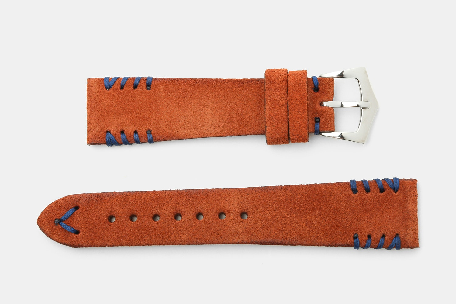Rust Suede, Blue Stitches