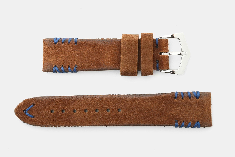 Brown Suede, Blue Stitches