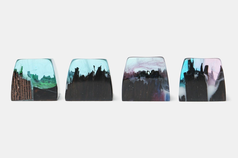 Mini Iceland Wood & Resin Artisan Keycaps