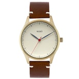 Creme dial/chocolate strap with gold case