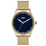Blue dial/gold mesh strap with gold case (+$10)