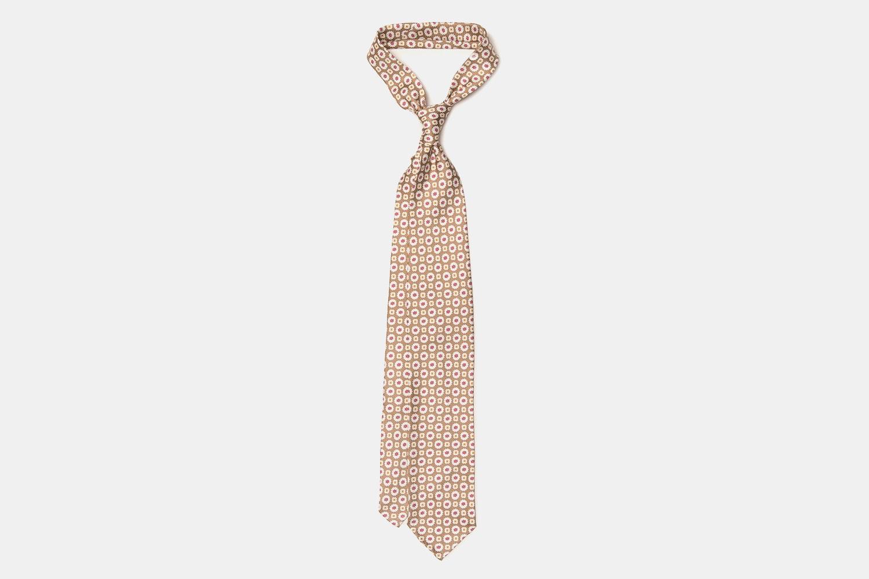 Artisan Silk Tie - Beige and Red