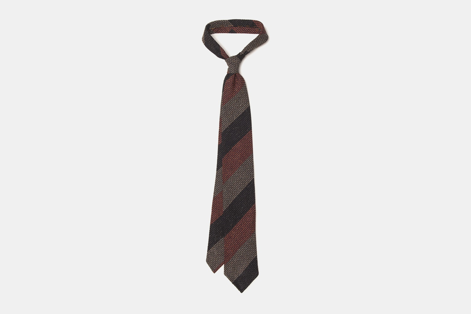 Block Stripe Grenadine with Mixed Red, Brown and Dark Tan Stripes
