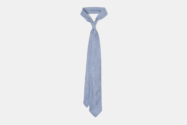 Herringbone Cashmere Tie - Light Blue