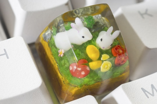 Moon Key Little Easter Bunnies Artisan Keycap