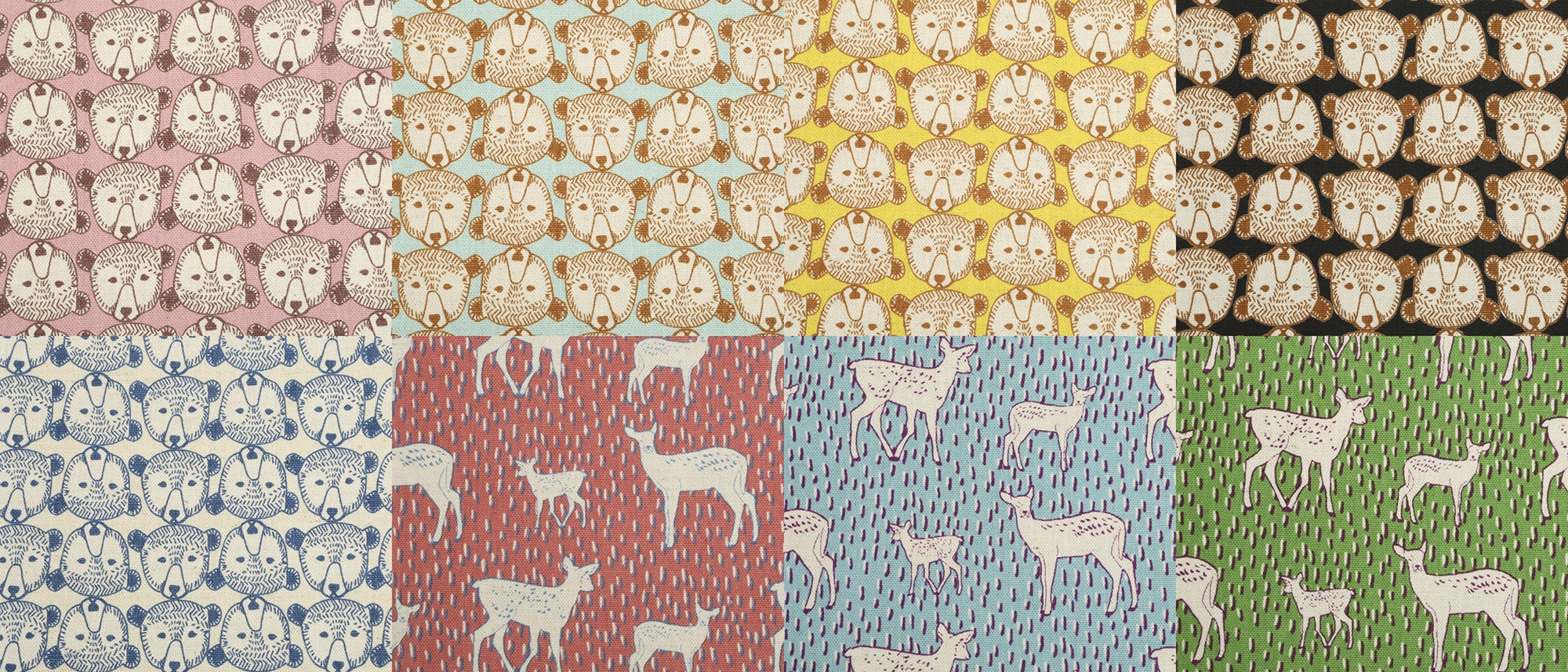 Nordic Deer & Bear Canvas Half-Yard Bundle by Kokka