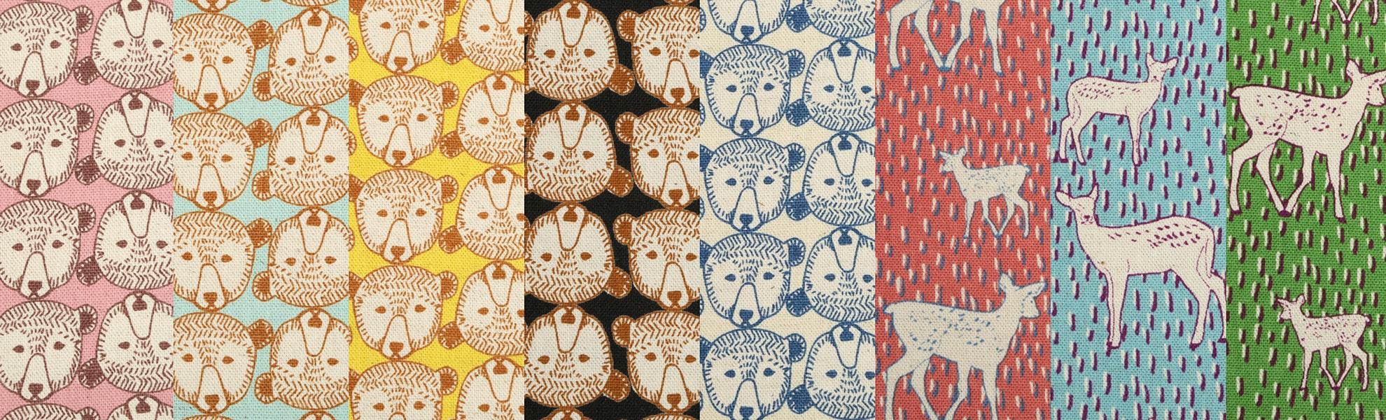 Nordic Deer & Bear Canvas Half-Yard Bundle by Kokka