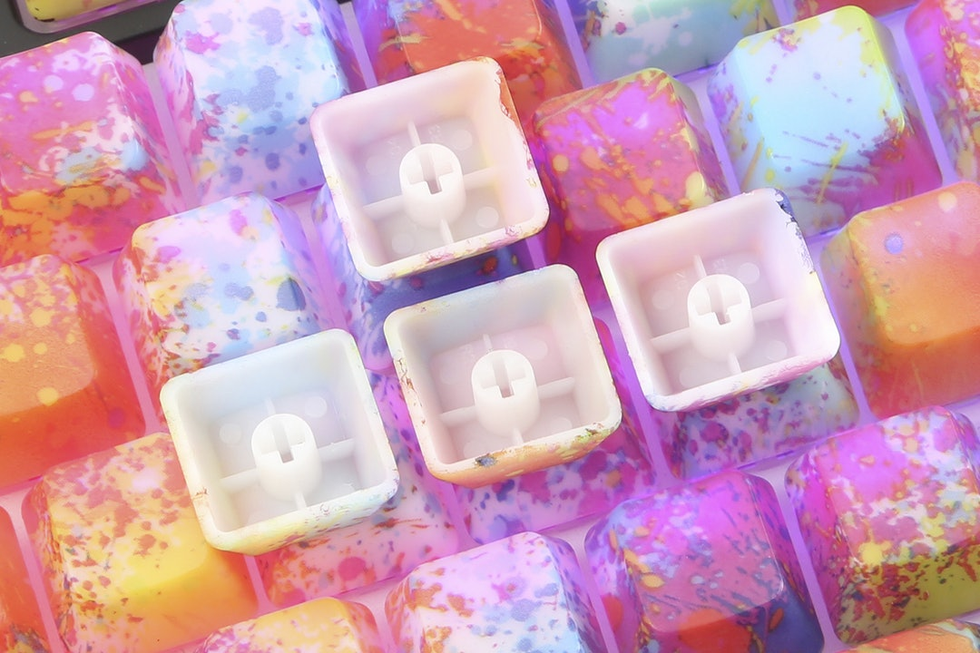 Oil Painting ABS Water Transfer Keycap Set