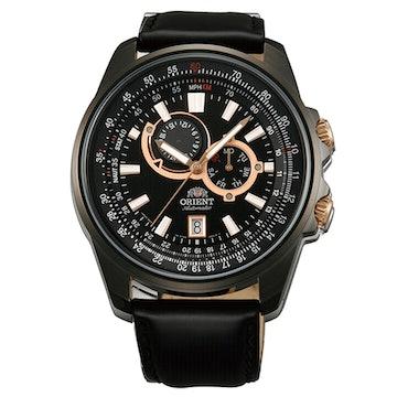FET0Q002B0 - Black leather band, black dial