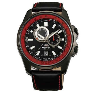 FET0Q001B0 - Black leather band, black/red dial