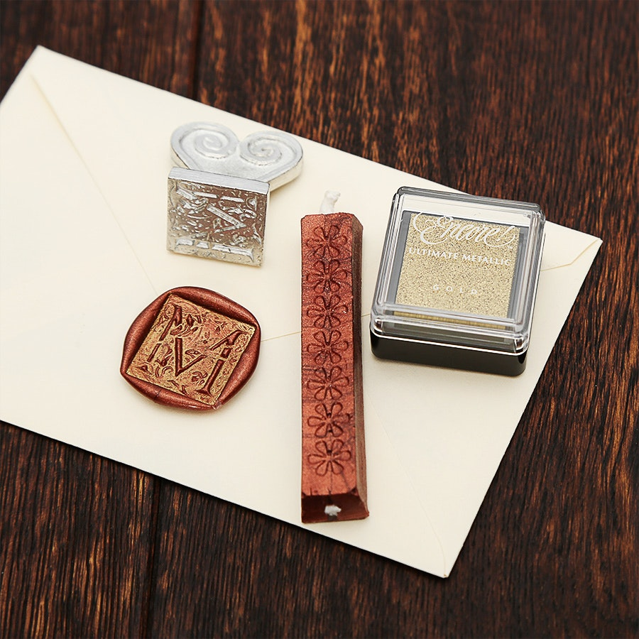 Ornate Alphabet Wax Seal & Ink Pad Set