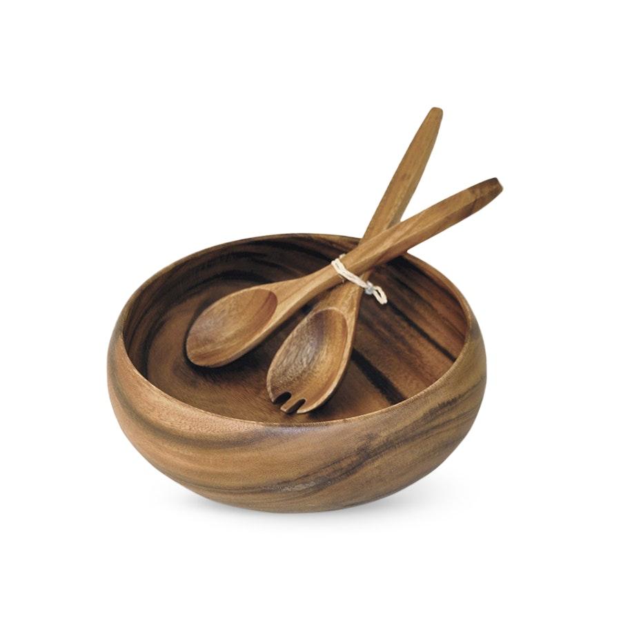Pacific Merchants Acacia Wood Salad Bowl & Server
